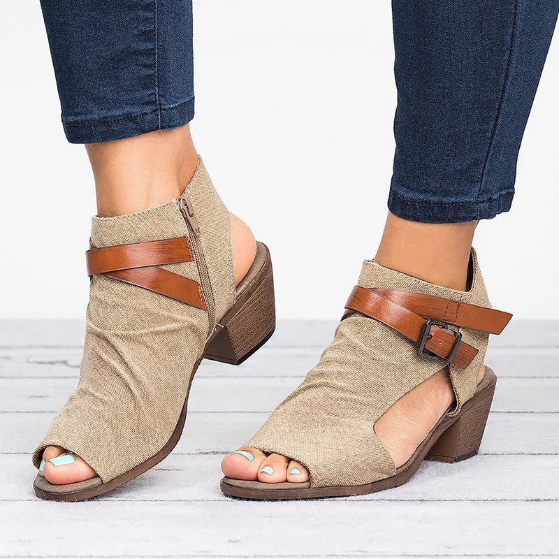 39bf560cdff2 Large Size Ankle Strap Peep Toe Wedge Sandals – Indonepick