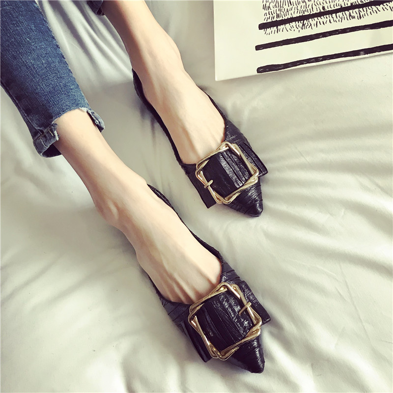 358c3985085 Pure Color Point Square Buckle Flat Shoes – maxpassion