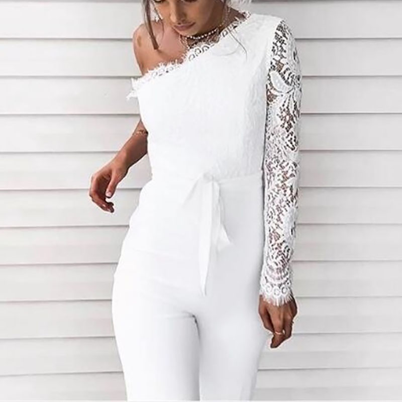 95048704c06b Fashion Sexy One Shoulder Lace Bandage Jumpsuits – Mogosic