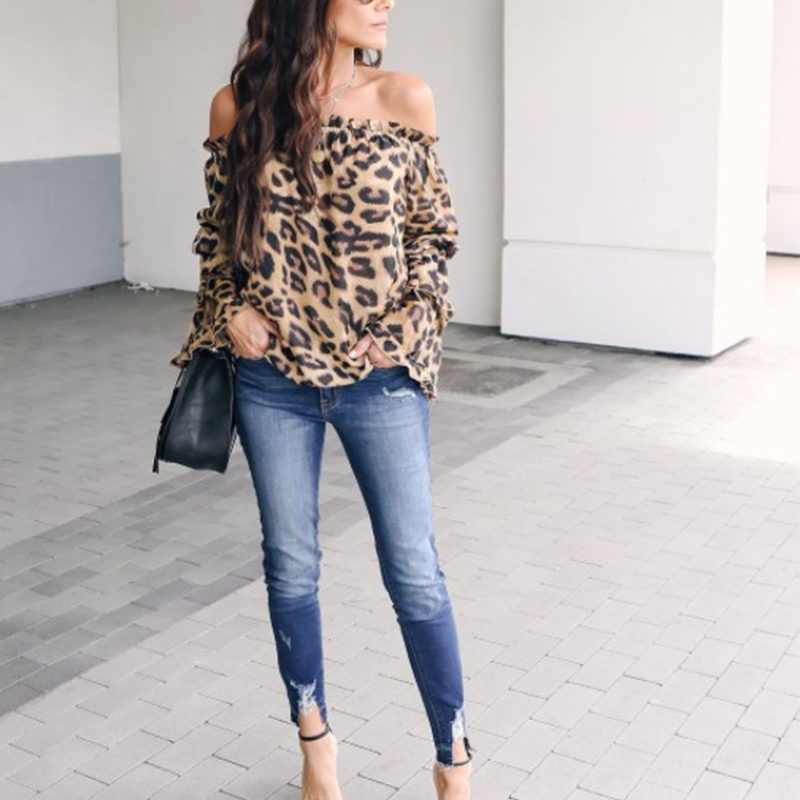 60579d3873596 Leopard Printed Off Shoulder Flare Long Sleeve Sexy Blouses – chicnora