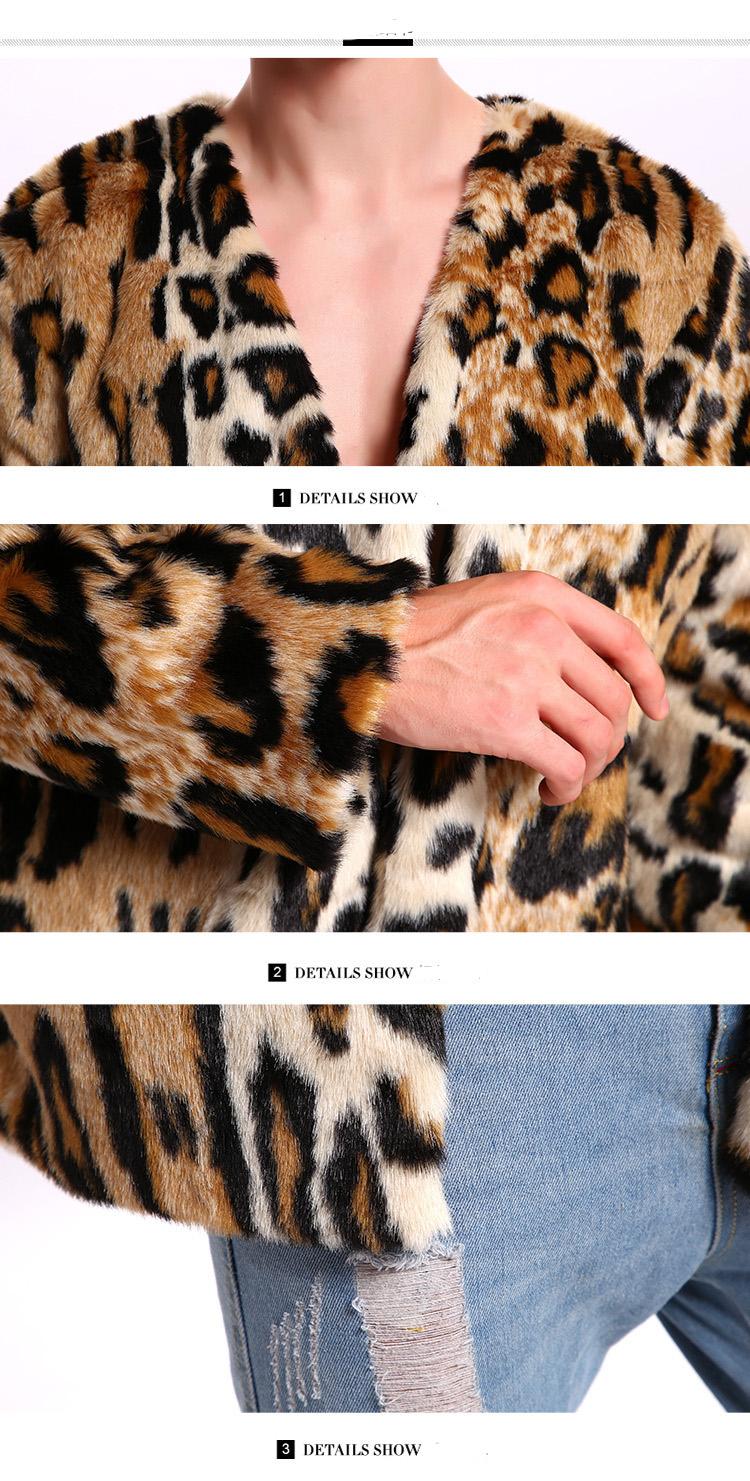 6c582a72cbc8 Men's Leopard Print Faux Fur Suit Collar Warm Jacket – feverway