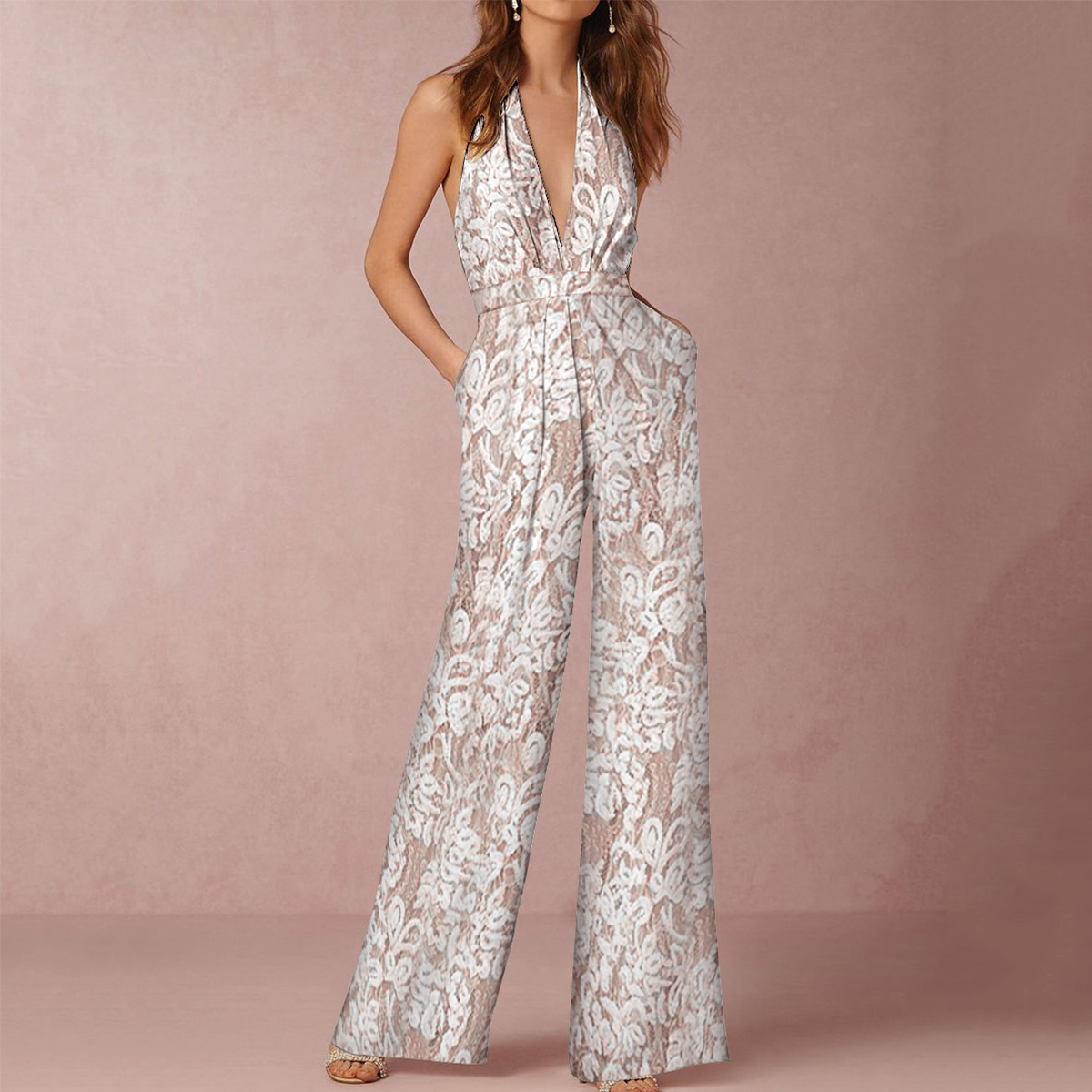 cc51be44707 Sexy Halter Neck Backless Floral Lace Jumpsuit – PINKSIA