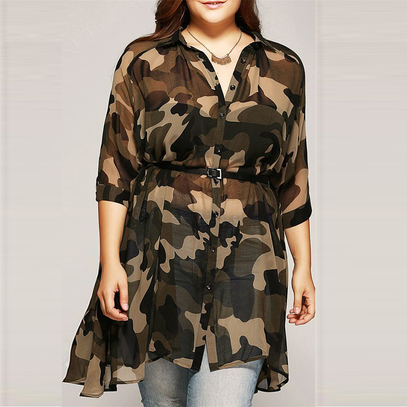 Casual Plus Size Camouflage Long Sleeve Shirt
