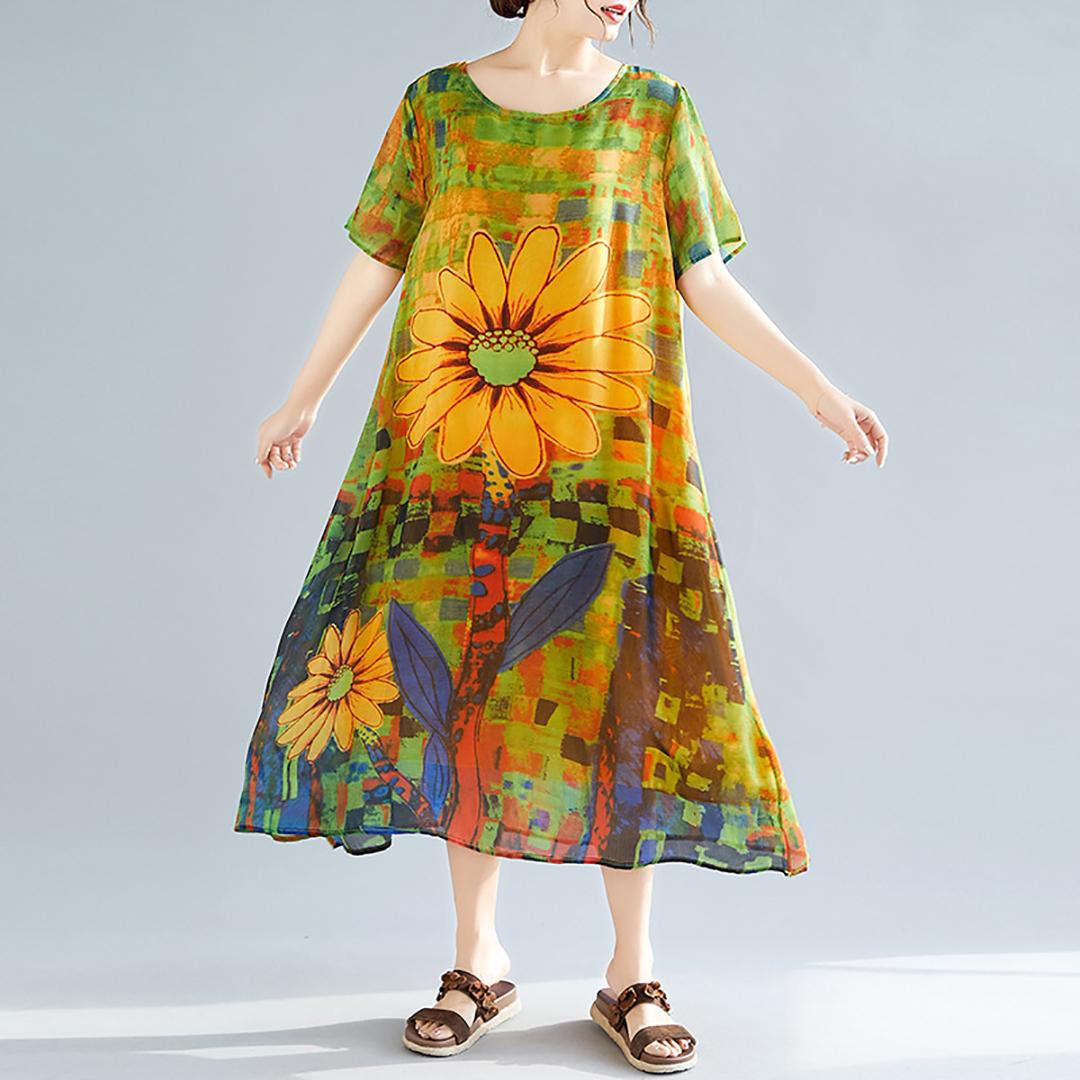 Plus Size Sunflower Dress Round Neck Printed Colour Glamorous