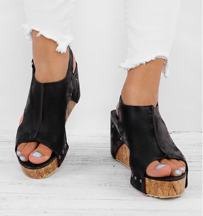 5e00f7dc880f Peep Toe PU Wedges Blocking Hook-Loop Wedge Sandals – lagowa