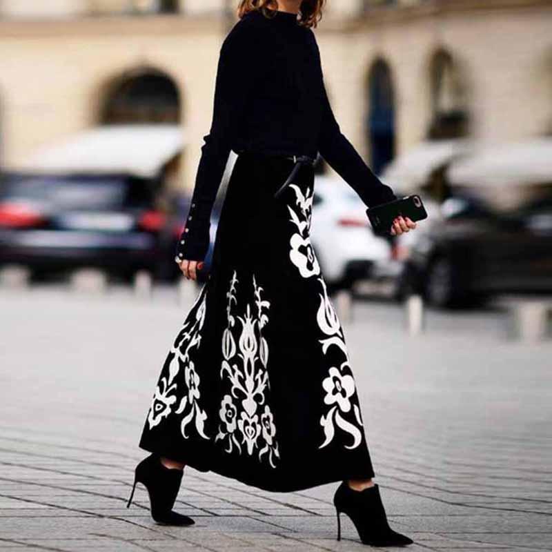 Colabingo: Floral Pattern Printed Long Skirts