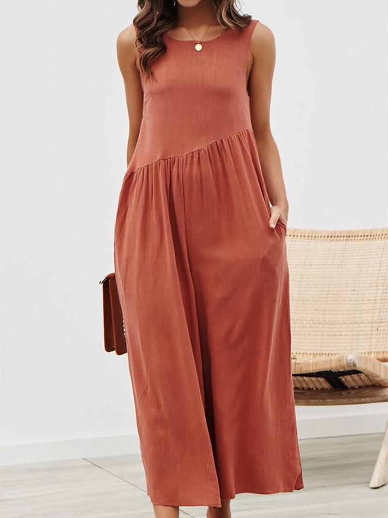 Colabingo: Fashion Pure Colour Sleeveless Vest Jumpsuits