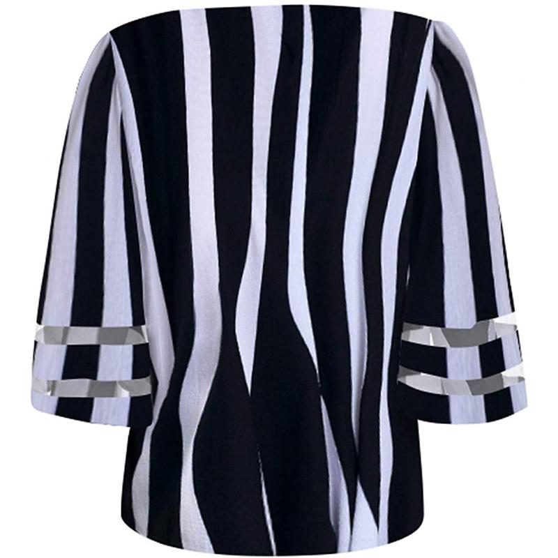 Colabingo: Sexy V-Neck Mesh Splicing Flared Sleeve Stripe Print Shirt