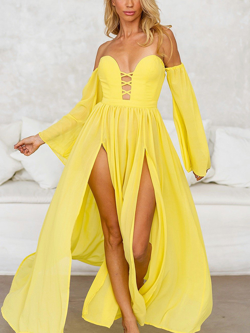Colabingo: Sexy Bell Sleeve Bare Back Off-Shoulder Ruffled Pleated
