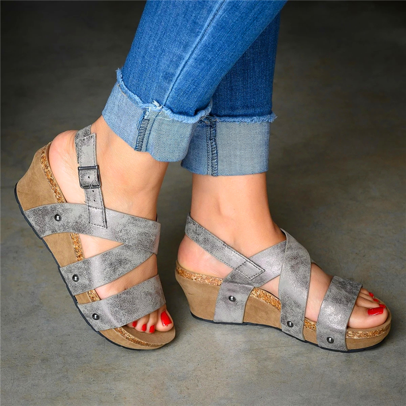 242a6804729 Women s Open Toe Front Cut Out Magic Tape Wedge Heel Sandals – shoespia